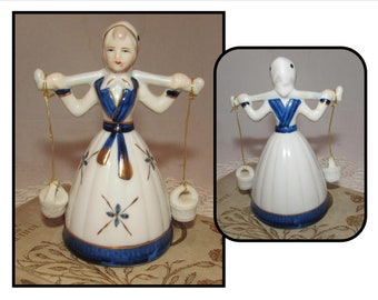 Vintage Porcelain Dutch Girl Bell, lady woman, Water Bucket Clappers, blue white