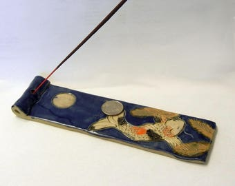 Koi and Moon Ceramic Incense Holder