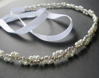 Art Deco Inspired Wedding Headband Pearl Crystal Gatsby Bridal Hairband Halo Forehead Headpiece Rhinestone Bohemian Bride Accessories NIKA