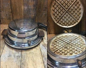 Vintage Waffle Maker, Antique Waffle Maker, Waffle Maker, Old School Waffle Maker, Dominion Electric, Made in USA, Kitchen Appliance, Gift