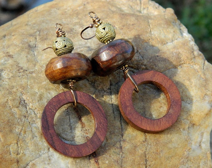 Featured listing image: RESERVED for KEYSHA EDWARDS Batik Bone and Wood Bead Boho Earrings