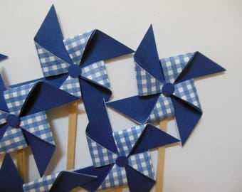 Pinwheel Cupcake Toppers - Blue and White Gingham - Birthday Party Decorations - Set of 6