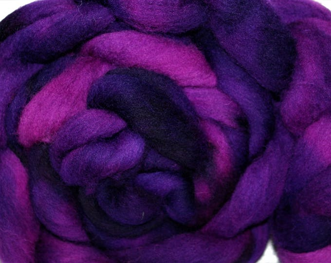 Kettle Dyed Cheviot Wool top. Roving.  Spin. Felt. Soft and easy to work with. Berry Crush. 1lb. Braid