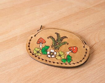 Leather Coin Purse - Small Zippered Coin Pouch in the Ronja Pattern with mushrooms, shamrock, and ferns - Green and antique brown
