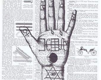 Palmistry.fortune teller.hand reader.psychic.French Book Page.Vintage.Gift.mixed media art.home deco.eco.prediction.moon.star.seer.occult