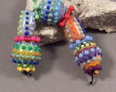 Handmade Lampwork Bead Set by Monaslampwork - Dots, Colors, and Enamels - dots and enamels, full of color by Mona Sullivan