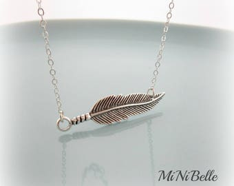 Feather Necklace. Sterling Silver Feather Necklace. Feather Pendant Necklace
