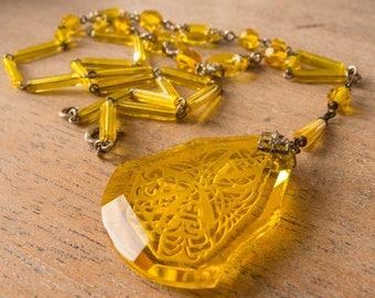 Vintage Antique Art Deco Signed Czech Citrine Lavalier Crystal Etched Necklace - Salesman's Sample in Original Box