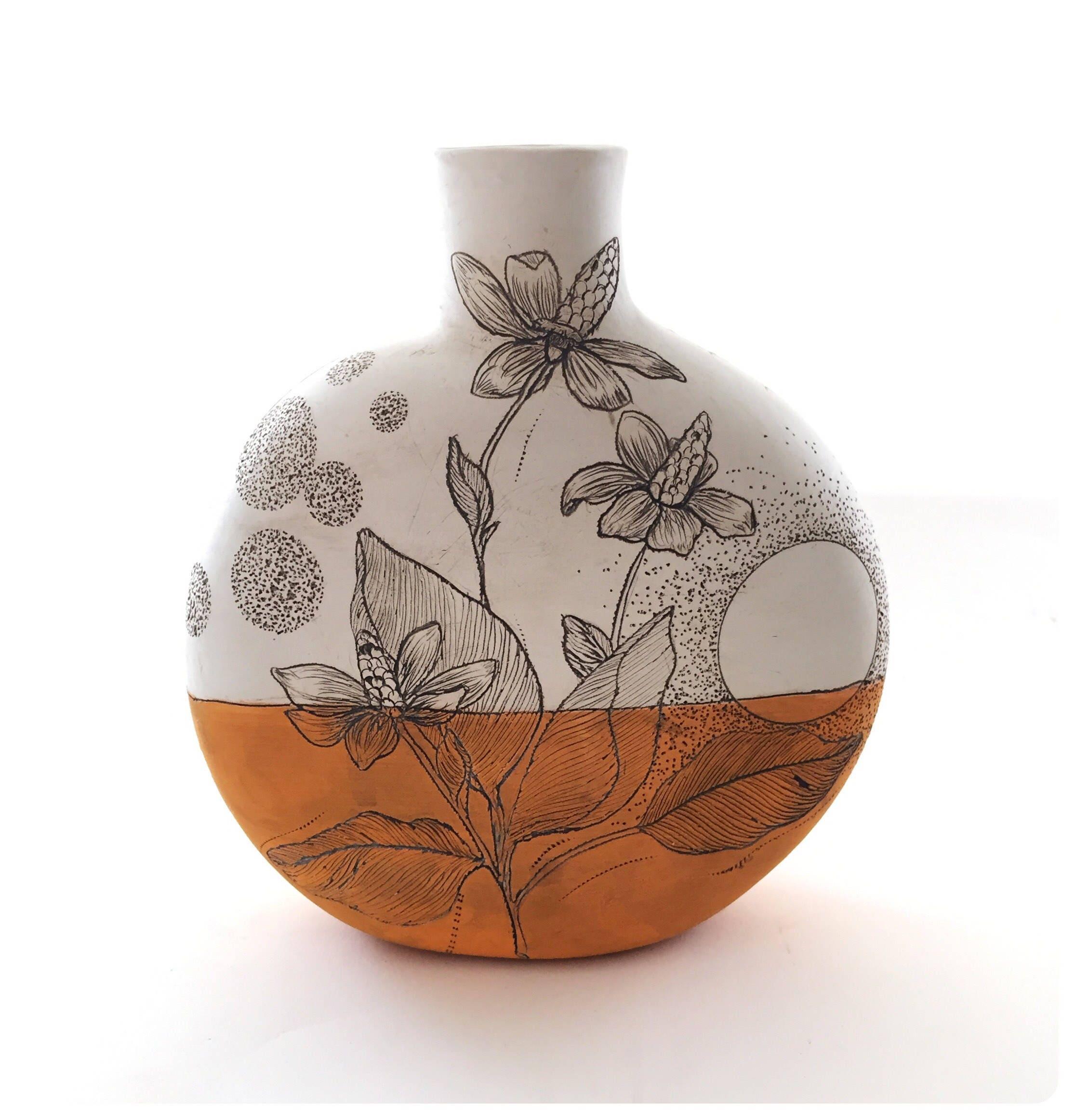 Orange Yerba Mansa + Feather Canteen Vase