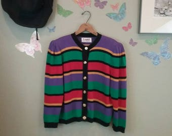 Vintage 80s bold striped knit cardigan sweater