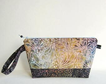 Wedge Bag, Small-Project Knitting Bag, Batik flowers