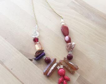 Lucille Necklace Red Mixed Media Crystal and Stone Statement Necklace