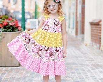 Girls Donut Dress- Girls Dress - Girls Birthday Dress - Girls Donut Sundress - Toddler Donut Dress - Girls Party Dress - Girls Birthday Set