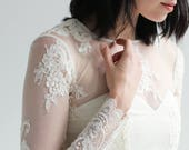 Sample Sale -long sleeve delicate  Lace wedding top separate--