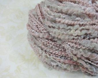 Handspun Art Yarn Bulky Coil Spun Art Yarn 70 yards pink gray