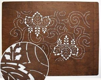 "Vintage Japanese Katagami Stencil Persimmon Paper ""Paulownia"""