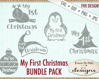 Christmas SVG Bundle - My First Christmas svg bundle - Baby's First Christmas svg bundle - Christmas SVG - Commercial use svg, dxf, png, jpg