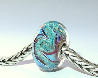 Luccicare Lampwork Bead - Nebula II -  Lined with Sterling Silver