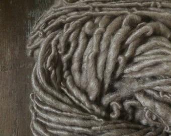 Black Walnut dyed, handspun naturally dyed soft silk and wool yarn, 72 yards single ply bulky weight, tan handspun yarn