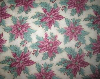"""1 Yard """"Holiday Homcoming"""" Pink Poinsettia Christmas Fabric"""
