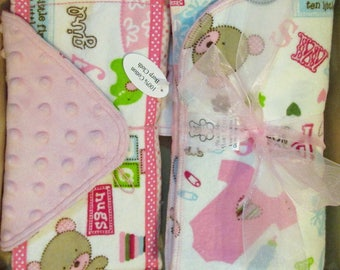 Baby Girl Theme Gift Set - Baby Shower Gift - 4 piece; Receiving blanket, bib, burp cloth, Minky washcloth - gift boxed - Quilt Optional