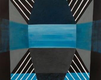 Mid Century Modern Blue Architecture 8 Geometric Original Painting on Canvas