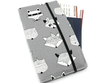 Travel Wallet, passport holder, family travel wallet, travel organizer, passport wallet, document holder - Tribal Fox on Grey