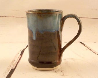 Ceramic Mug - Stoneware Tea Cup - Small Latte Mug - 7 Ounce Size - Handmade Pottery - Jasper Brown Red with Blue Rim - Ready to Ship  m305