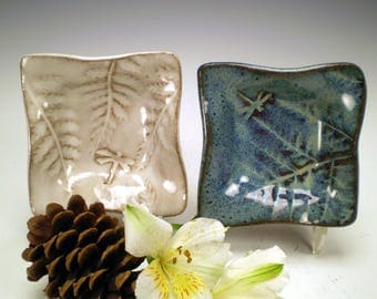 "4"" Square Dragonfly Dish, Dragonfly Jewelry Holder, Dragonfly Pottery, Ceramic Dish, Dragonfly Tea Bag Holder, Dragonfly Trinket Dish"