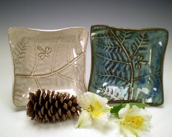 "5 1/2"" Square Dragonfly Pottery, Dragonfly Ceramic Dish, Stoneware Pottery, Get Well Gift, Dragonfly Tea Bag Holder, Dragonfly Gift"