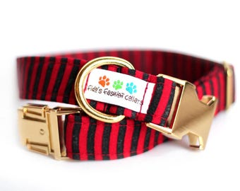 Nautical dog collar - Sailor Collar, Engraved Collar optional - Nautical Stripe
