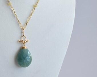 Pamela #2 - Aquamarine, Opals, 14k Gold Filled Necklace