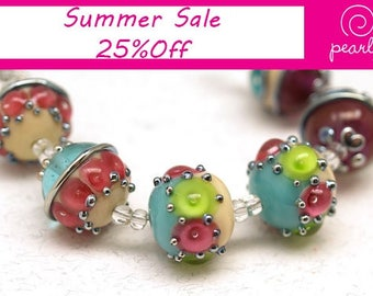 Ivory, pink, green, turquoise 18mm round Handmade lampwork glass beads SRA set of 6 Lampwork Beads, Unique Colorful Beads for Crafts