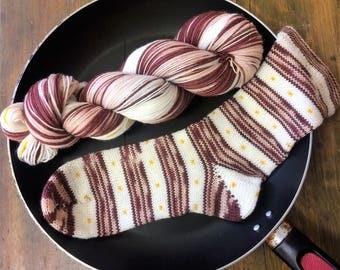 "hand dyed self striping sock yarn - ""Bacon & Eggs"""