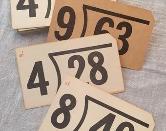 Milton Bradley 1963 division 50 flash cards vintage antique