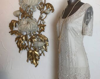 1980s dress beaded dress flapper dress size medium champagne dress stenay dress tiered dress vintage dress 1920s style dress