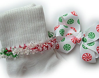 Kathy's Beaded Socks - Red and Green Peppermint Beaded Socks and Hairbow, Christmas socks, holiday socks, green socks, red socks