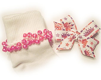 Kathy's Beaded Socks - Pink and Purple Princess Socks and Bow, holiday socks, pony bead socks, pearl socks, holiday socks, princess socks