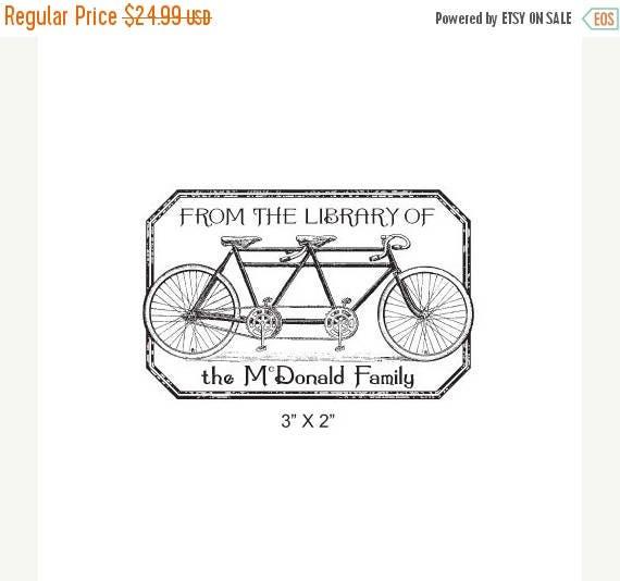 Super Summer Sale Tandem Bicycle Distressed Antique Frame Personalized Ex Libris Bookplate Rubber Stamp K15