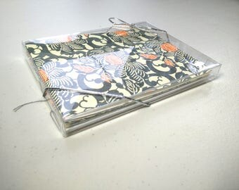 Set of 4 blank greeting cards - Handsewn Japanese Chiyogami Yuzen Card | Note Cards with Deckled Edge & Envelopes - orange and grey floral