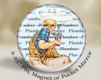 Retro Plumber Magnet or Pin, vintage working dad, vintage plumber, large 2.25'' magnet, retro illustration, vintage illustration