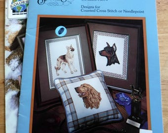 Lot of 2 dogs and painted ponies Counted Cross Stitch patterns, needle arts embroidery patterns, vintage dog breeds horse cross stitch books