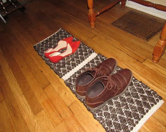 Brown and cream shoe rug