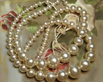 SALE BUY 1 GET 1 Vintage Glass Pearl Beads Supply Japan Original Strand Graduated Sizes