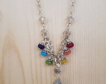 Silver druzy quartz with rainbow color glass beads chain necklace.