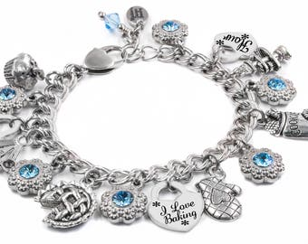 Personalized Girls Charm Bracelet, Choice of Crystals, charms, Laser Engraved Childs Name