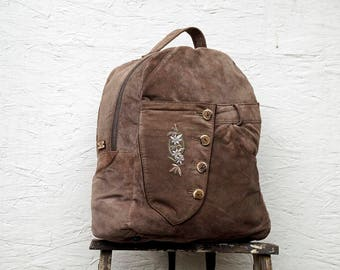 Big Brown Leather Backpack - Backpack Purse - Upcycled Leather - Rucksack Bag