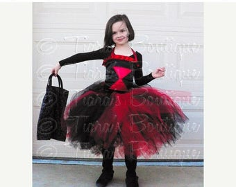 SUMMER SALE 20% OFF Black Widow Tutu Costume for Halloween, Black and Red Tutu and Corset, Girls Tutu Set