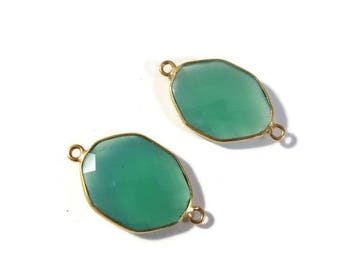 Summer SALEabration - 2 Green Onyx Pendants, Matched Pair of Gold Plated Irregular 26mm x 15mm Hexagon Bezel Pendants with Two Loops (C-Go4b