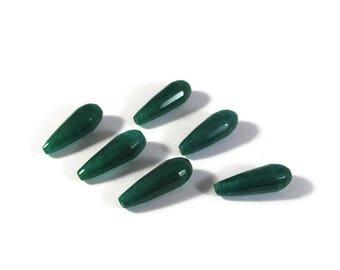 Green Jade Beads, Six Emerald Green Dyed Jade Long Drilled Drops, Briolettes, Six Stones, 22mm x 8mm (L-Mix10c)